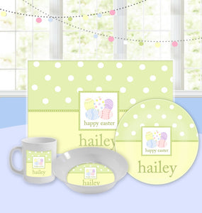 Personalized Kids Tableware Set - Easter Egg Hunt