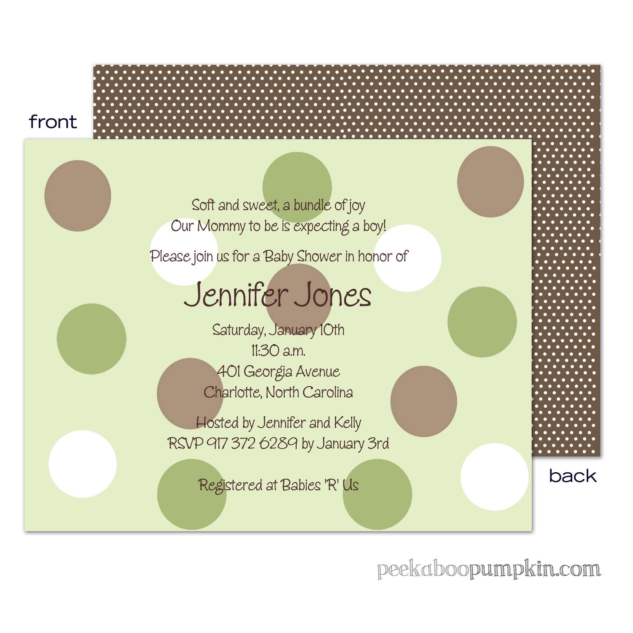 Polka Chocolate Sage Baby Shower Invitations