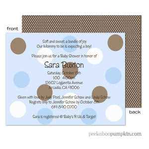 Polka Chocolate Blue Baby Shower Invitations