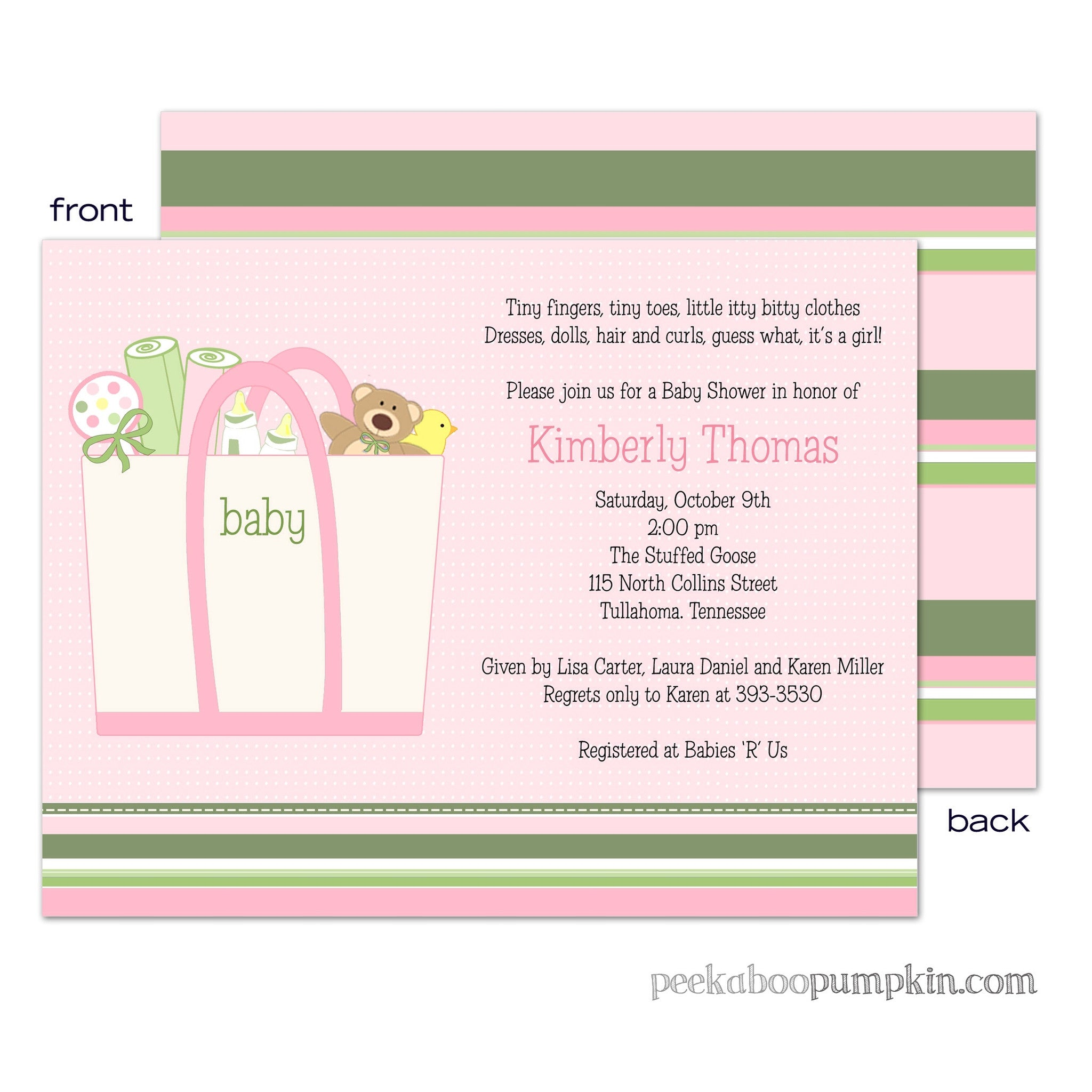 Baby Totes Pink Baby Shower Invitation