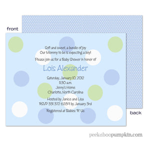 Polka Blue Baby Shower Invitations