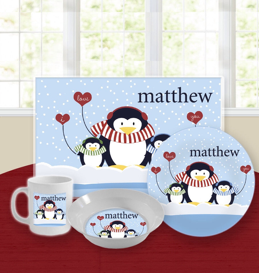 Personalized Kids Tableware Set - Love Penguins