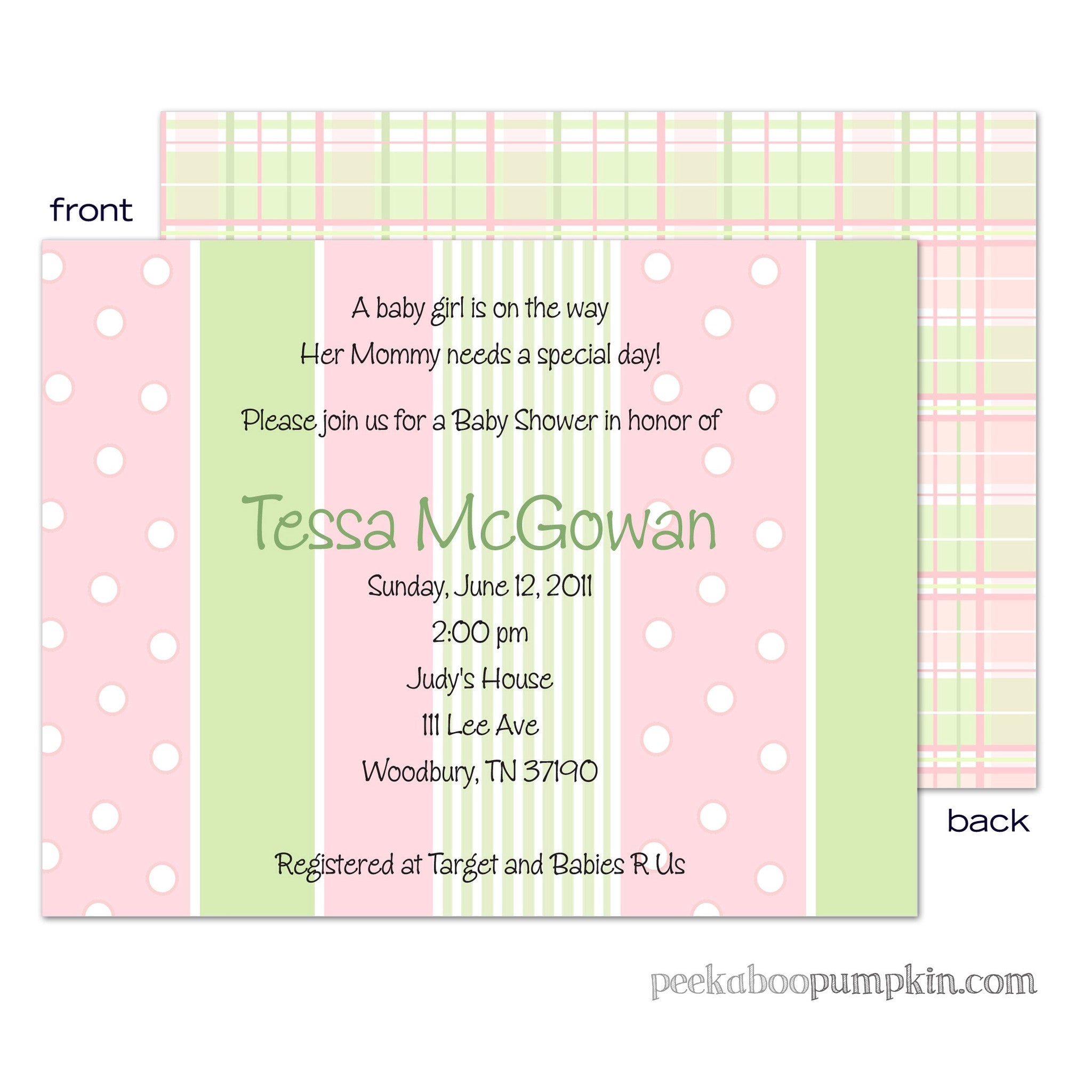 Preppy Pink Baby Shower Invitations