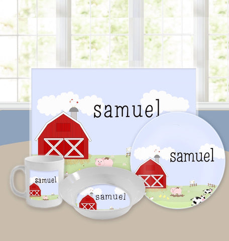 Personalized Kids Tableware Set - Funny Farm