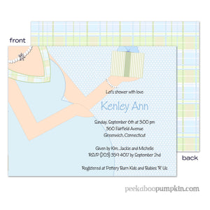 Baby Bump Blue Baby Shower Invitations