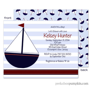 Ahoy Blue Baby Shower Invitations