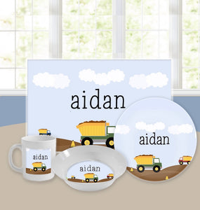 Personalized Kids Tableware Set - Men At Work