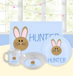 Personalized Kids Tableware Set - Easter Bunny Blue