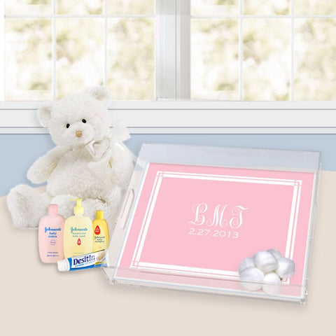 classic layette pink nursery lucite tray