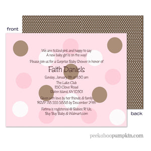 Polka Chocolate Pink Baby Shower Invitations