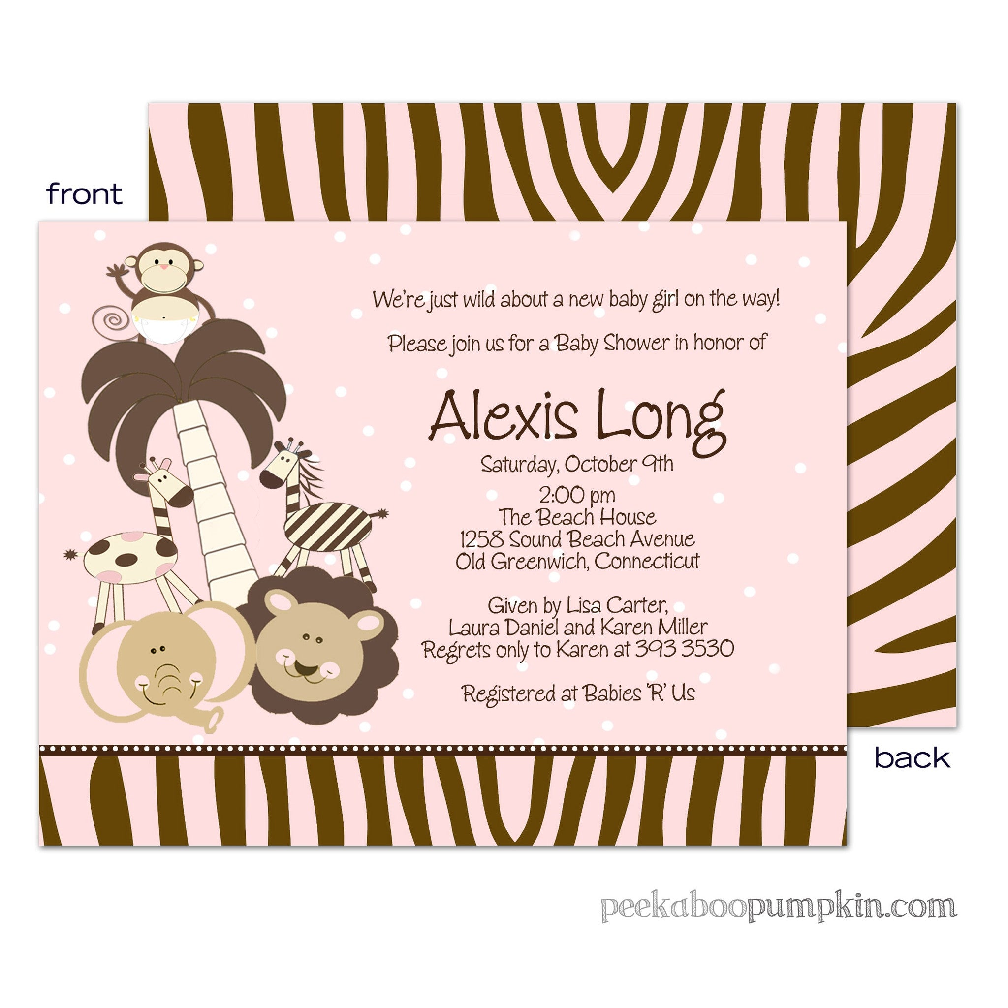 Baby Safari Pink Baby Shower Invitations
