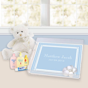 classic layette blue nursery lucite tray