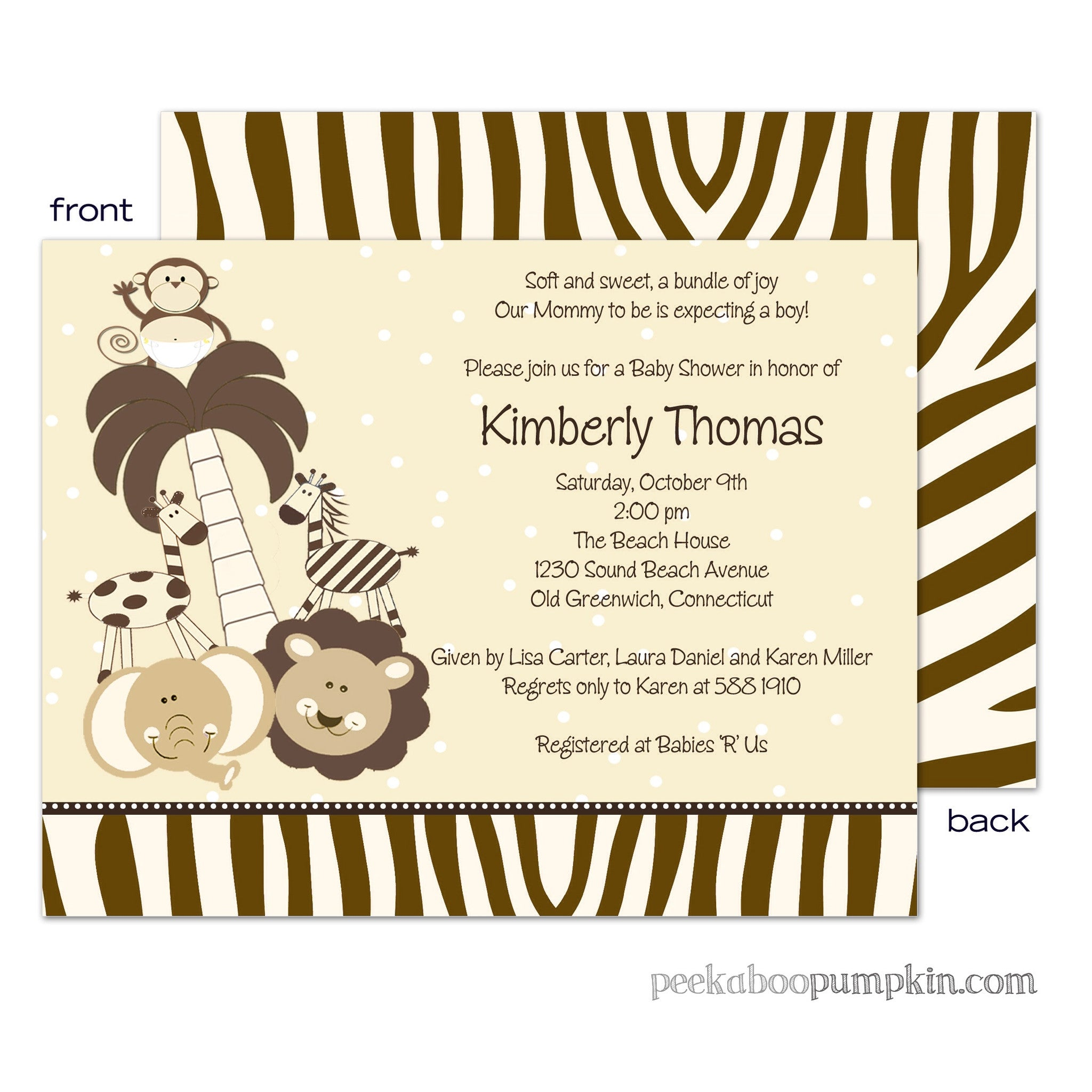 Baby Safari Baby Shower Invitations