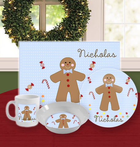 Personalized Kids Tableware Set - Gingerbread Boy