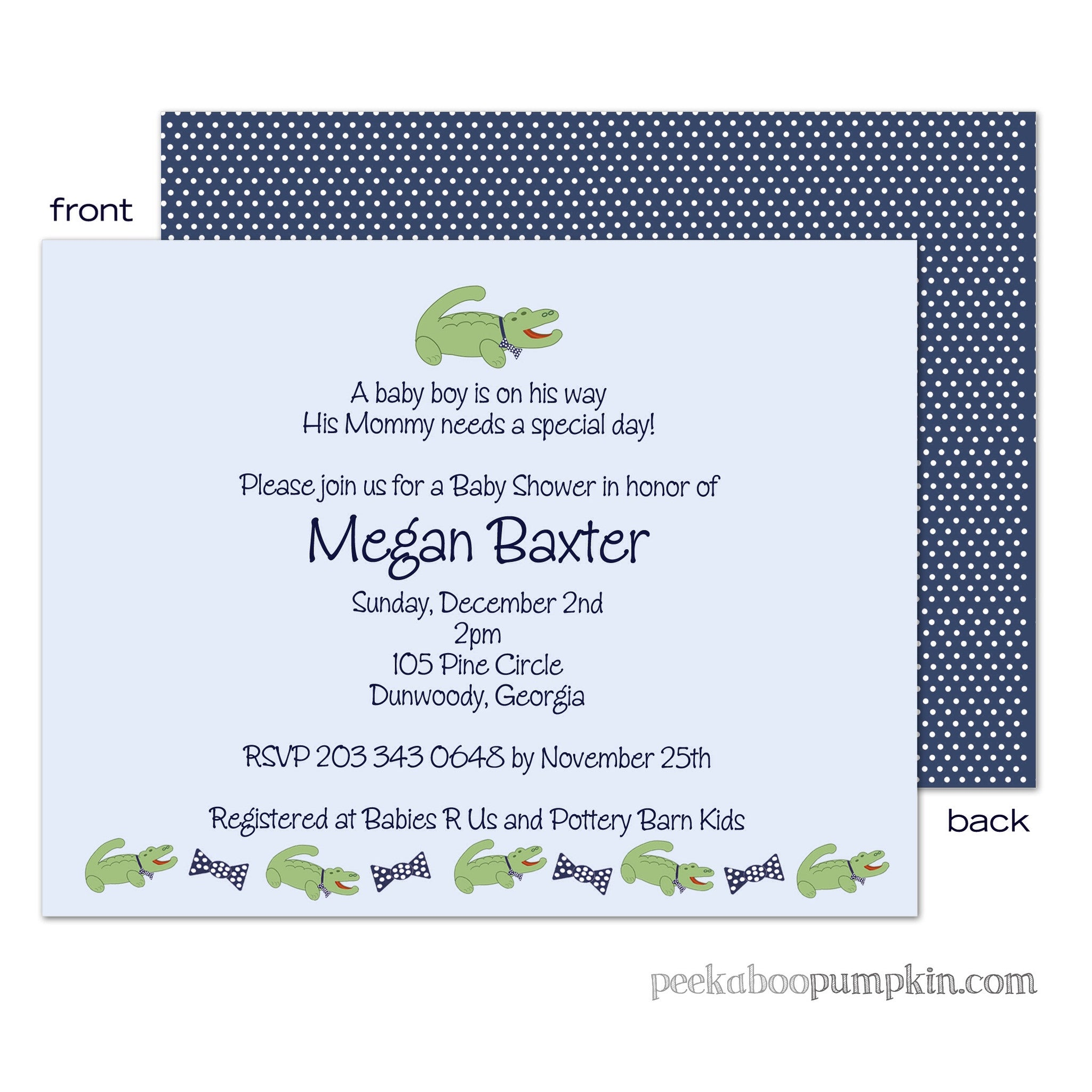 Preppy Pete Baby Shower Invitations