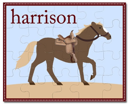 Giddy Up Blue Personalized Puzzles