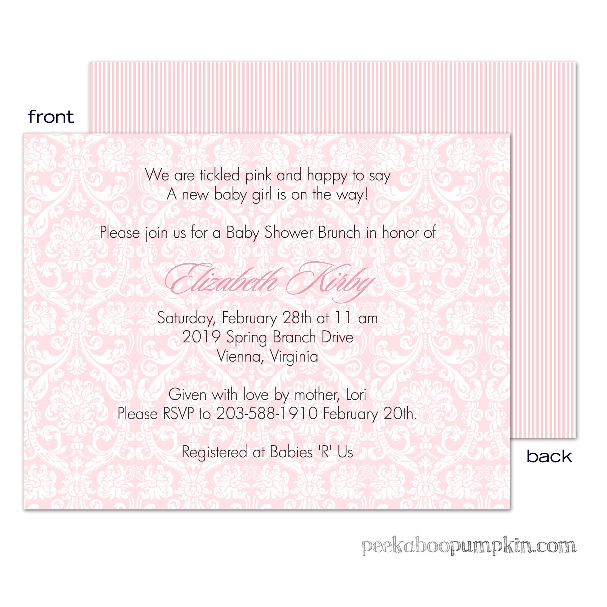 Damask Pink Baby Shower Invitations
