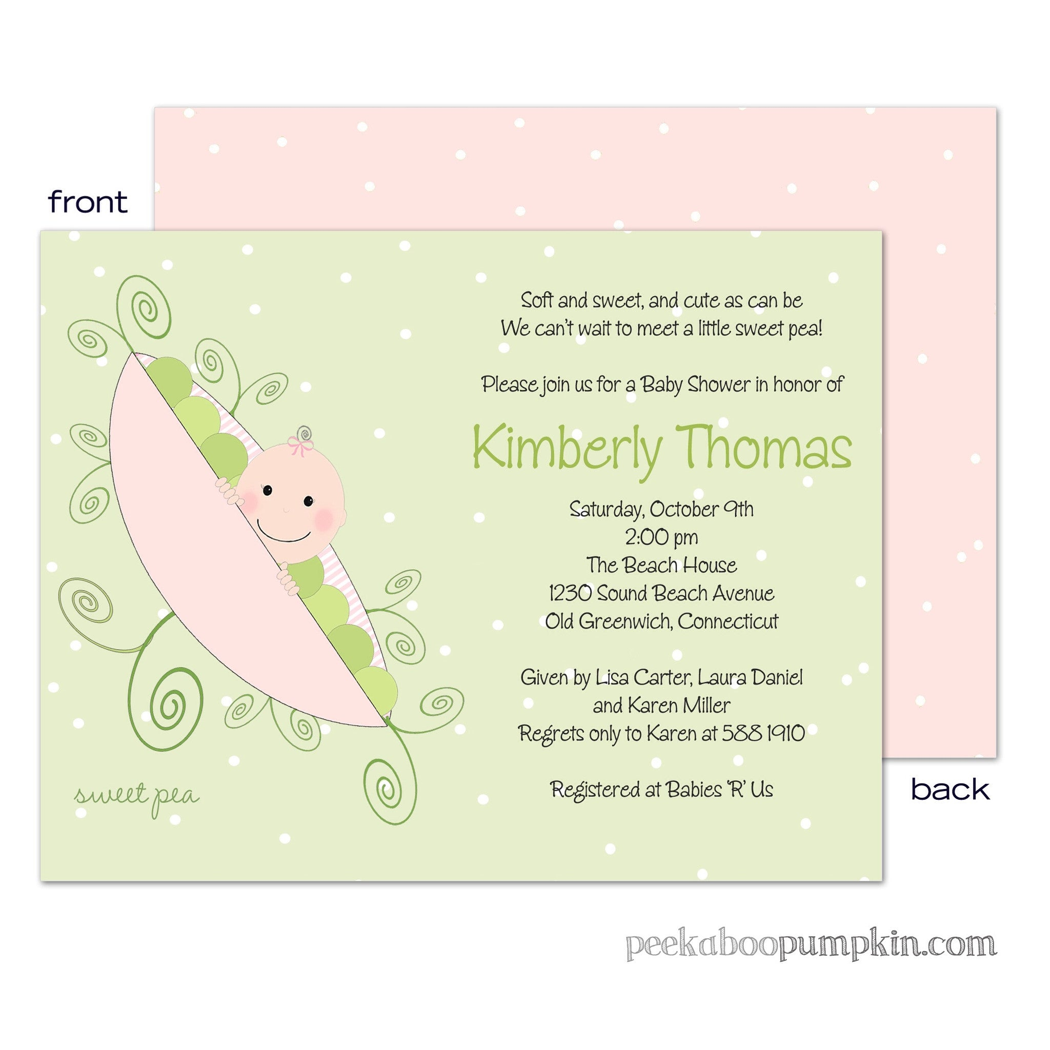 Pink Sweet Pea Baby Shower Invitations