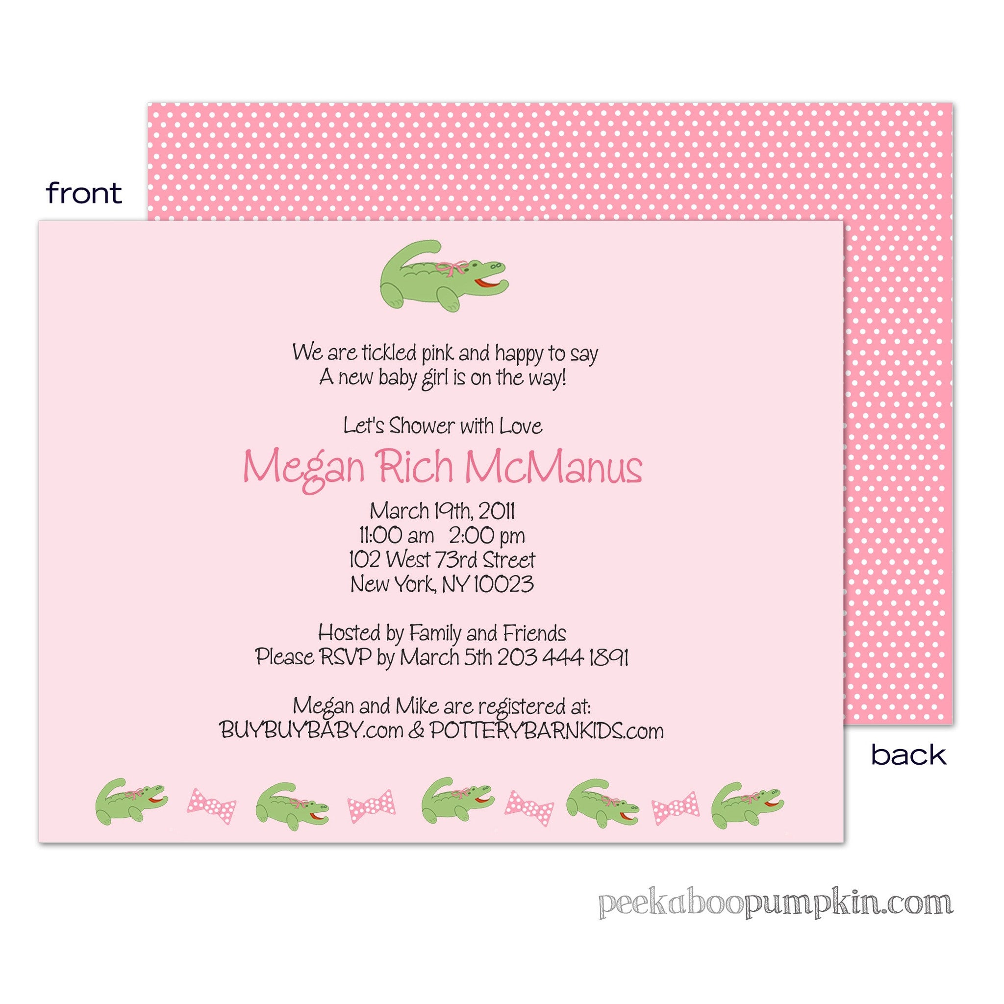 Preppermint Patty Baby Shower Invitations