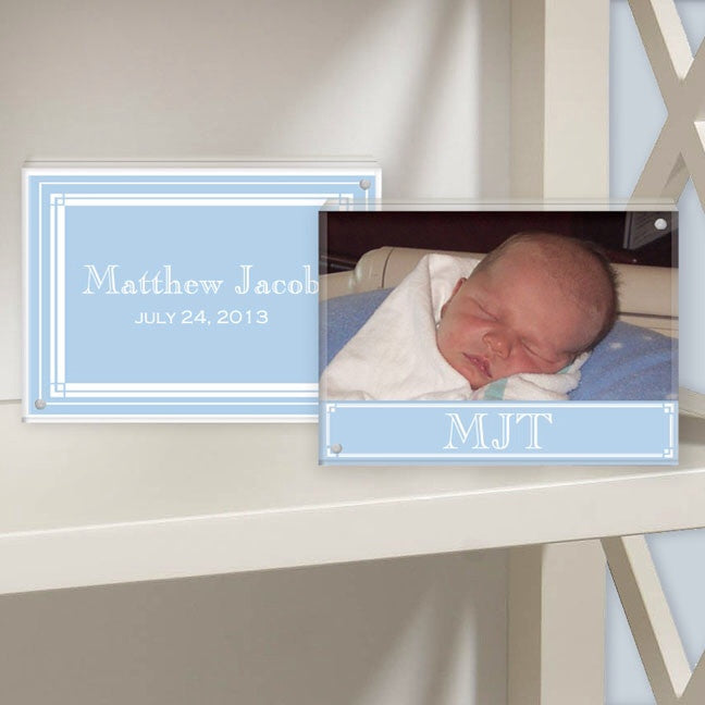 classic layette blue lucite photo frame