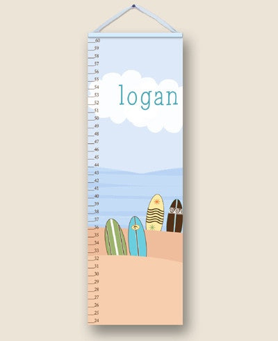 Surfs Up Blue Personalized Growth Charts