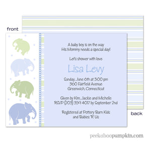 Ellas Marching Blue Baby Shower Invitations
