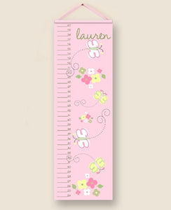 Pink Butterflies Personalized Growth Charts