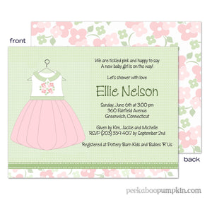 Little Pink Dress Baby Shower Invitations
