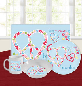 Personalized Kids Tableware Set - Love and Peace