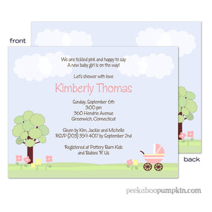 Walk in the Park Pink Baby Shower Invitations