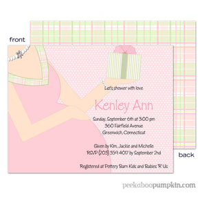 Baby Bump Pink Baby Shower Invitations