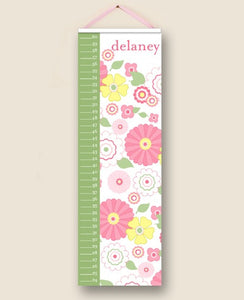 Vintage Floral Pink Personalized Growth Charts