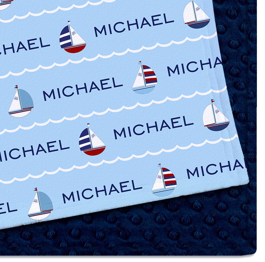 Personalized Baby Blanket | Ahoy Blue