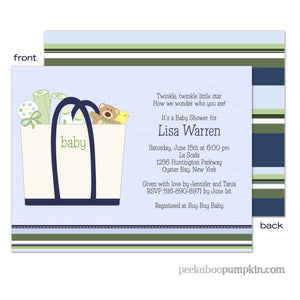 Baby Totes Blue Baby Shower Invitation