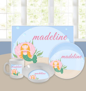 Personalized Kids Tableware Set - Miss Mermaid