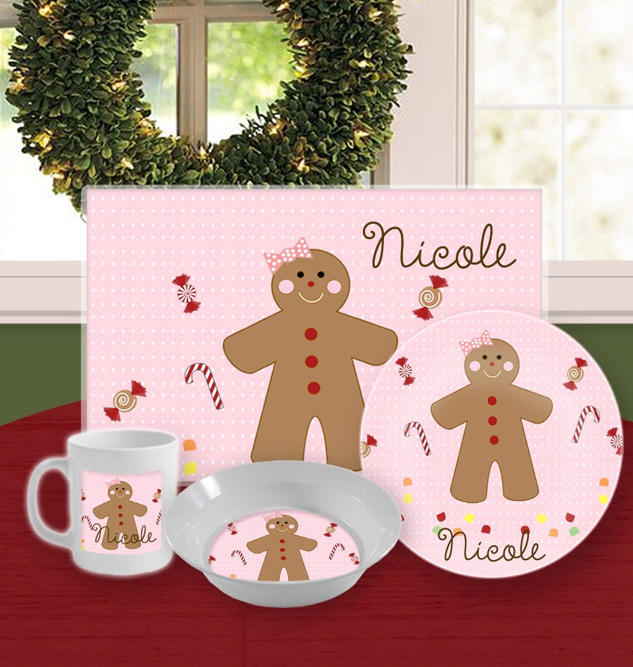Personalized Kids Tableware Set - Gingerbread Girl