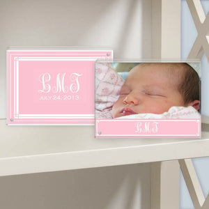 classic layette pink lucite photo frame