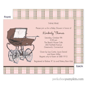 Central Park West Pink Baby Shower Invitations