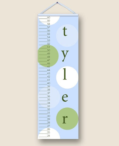 Blue Polka Dot Personalized Growth Charts