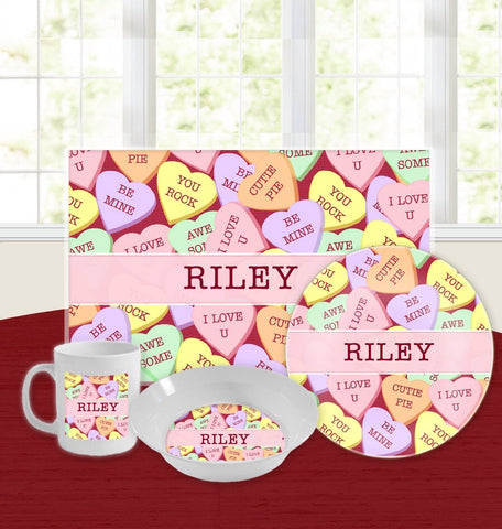 Personalized Kids Tableware Set - Candy Hearts