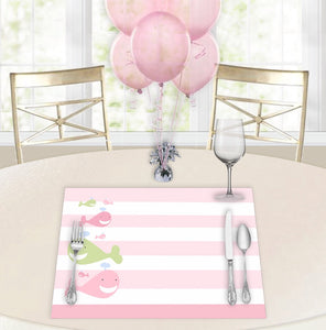 A Whale of a Tale Pink Baby Shower Placemats