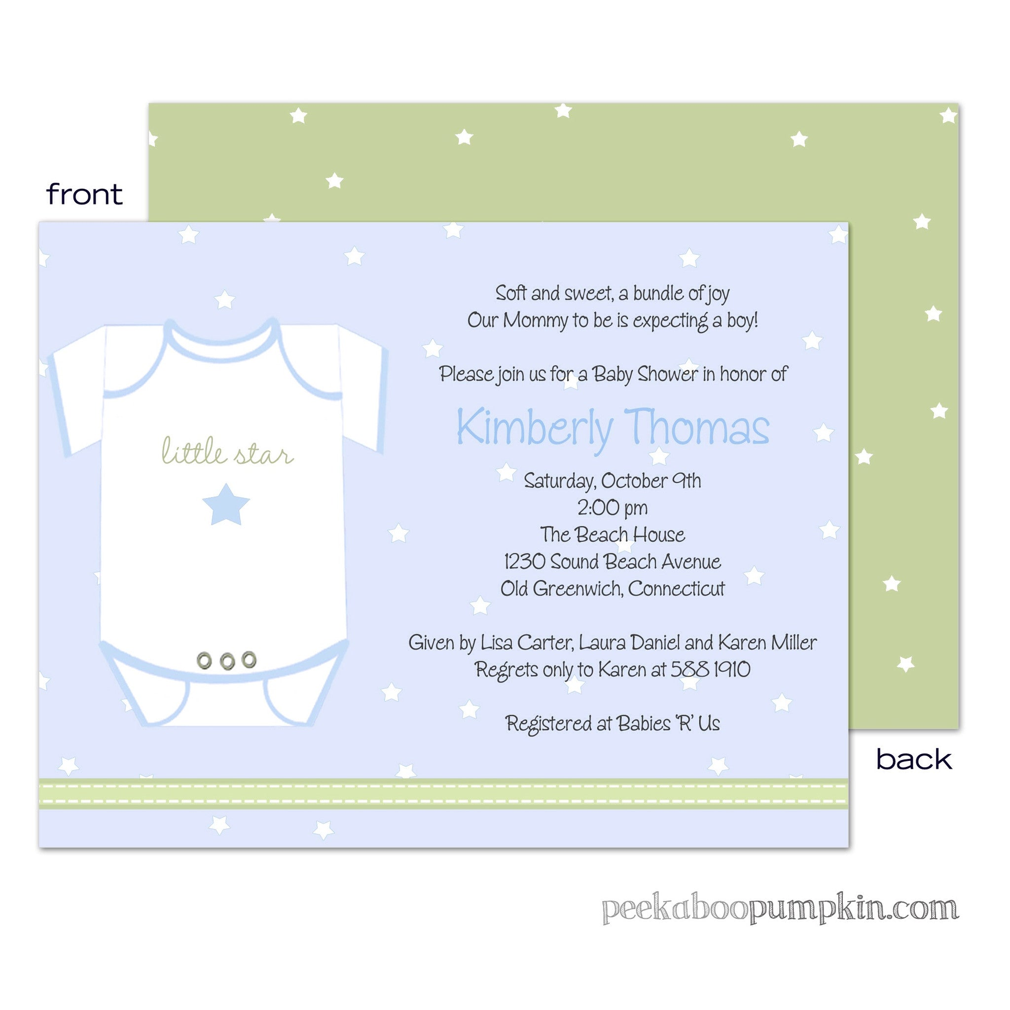 Little Star Onesie Blue Baby Shower Invitations