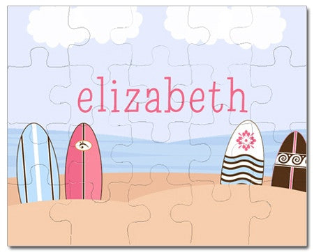 Surfs Up Pink Personalized Puzzles