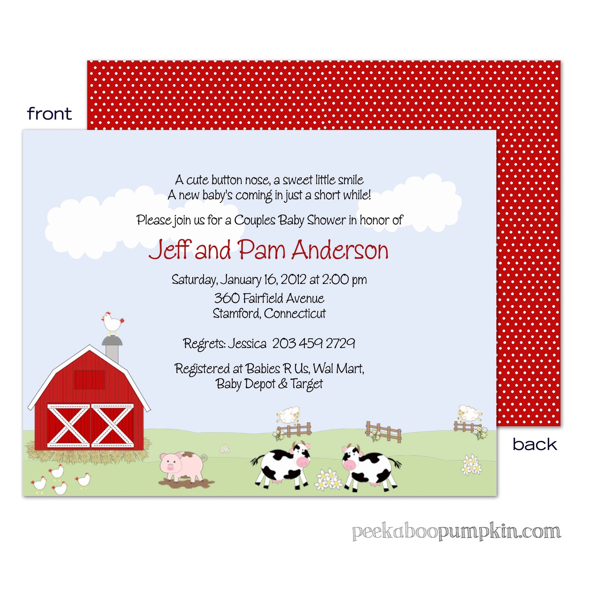 Funny Farm Baby Shower Invitations