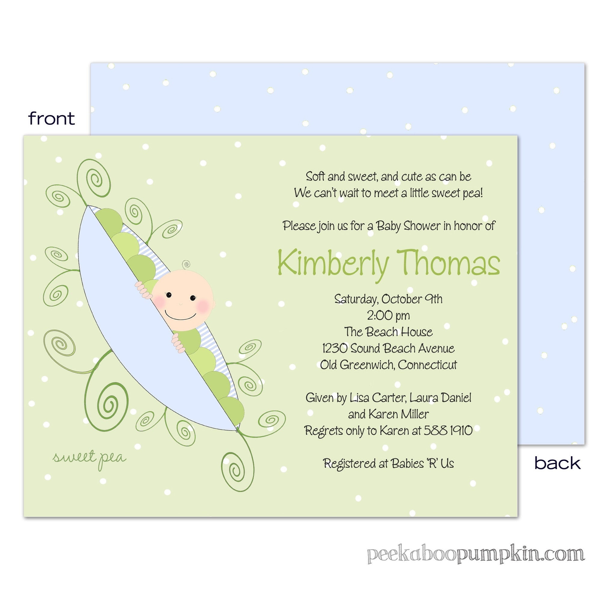 Blue Sweet Pea Baby Shower Invitations