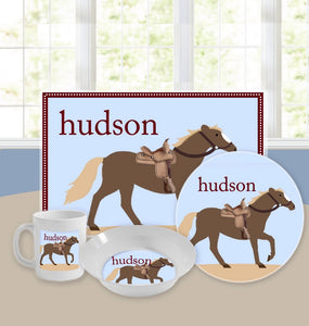 Personalized Kids Tableware Set - Giddy Up Blue