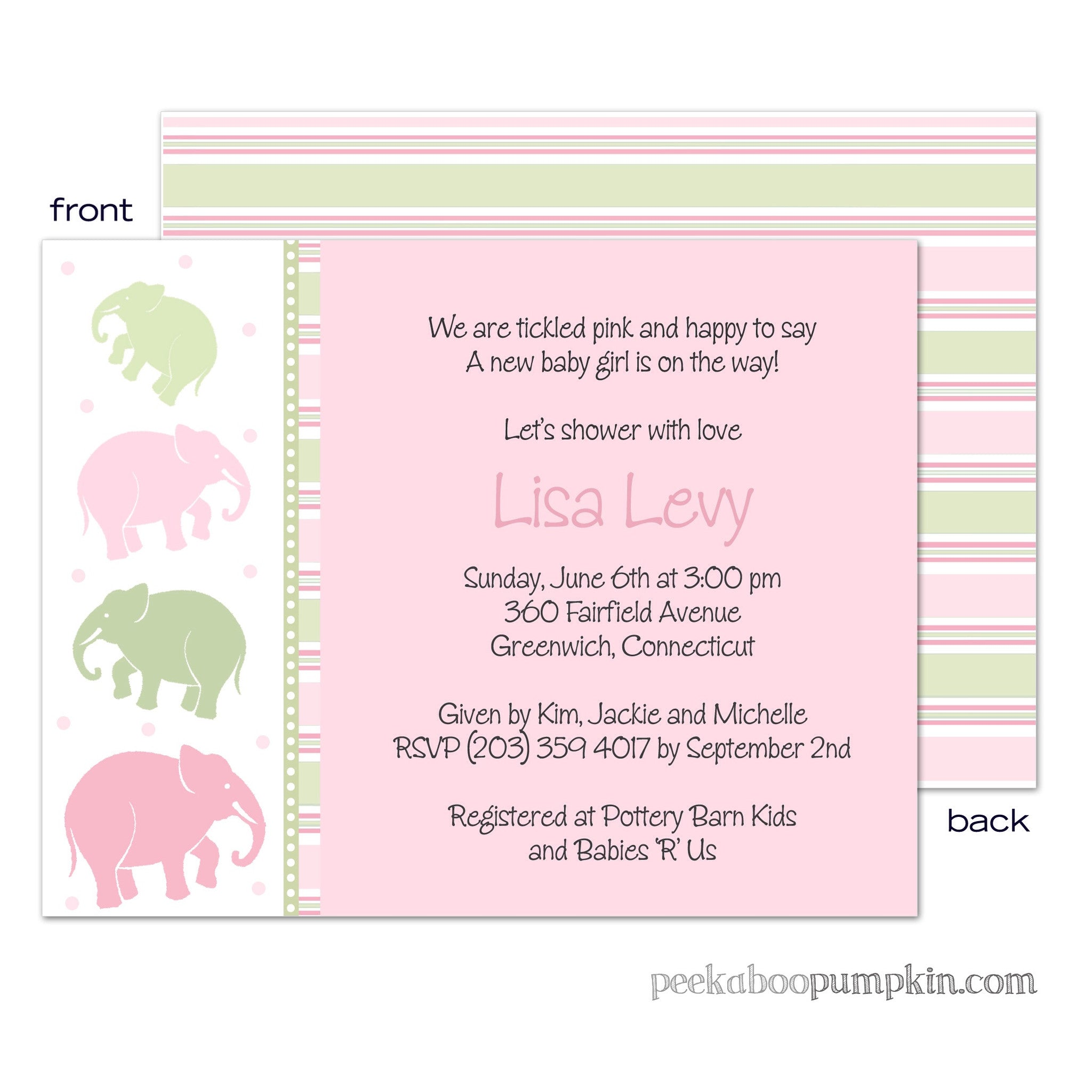Ellas Marching Pink Baby Shower Invitations