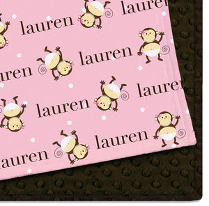 Personalized Baby Blanket - Monkey Moo Sue