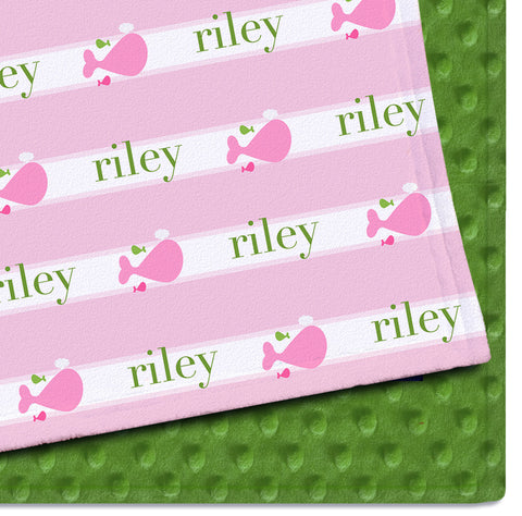 Personalized Baby Blanket | A Whale of Tale Pink