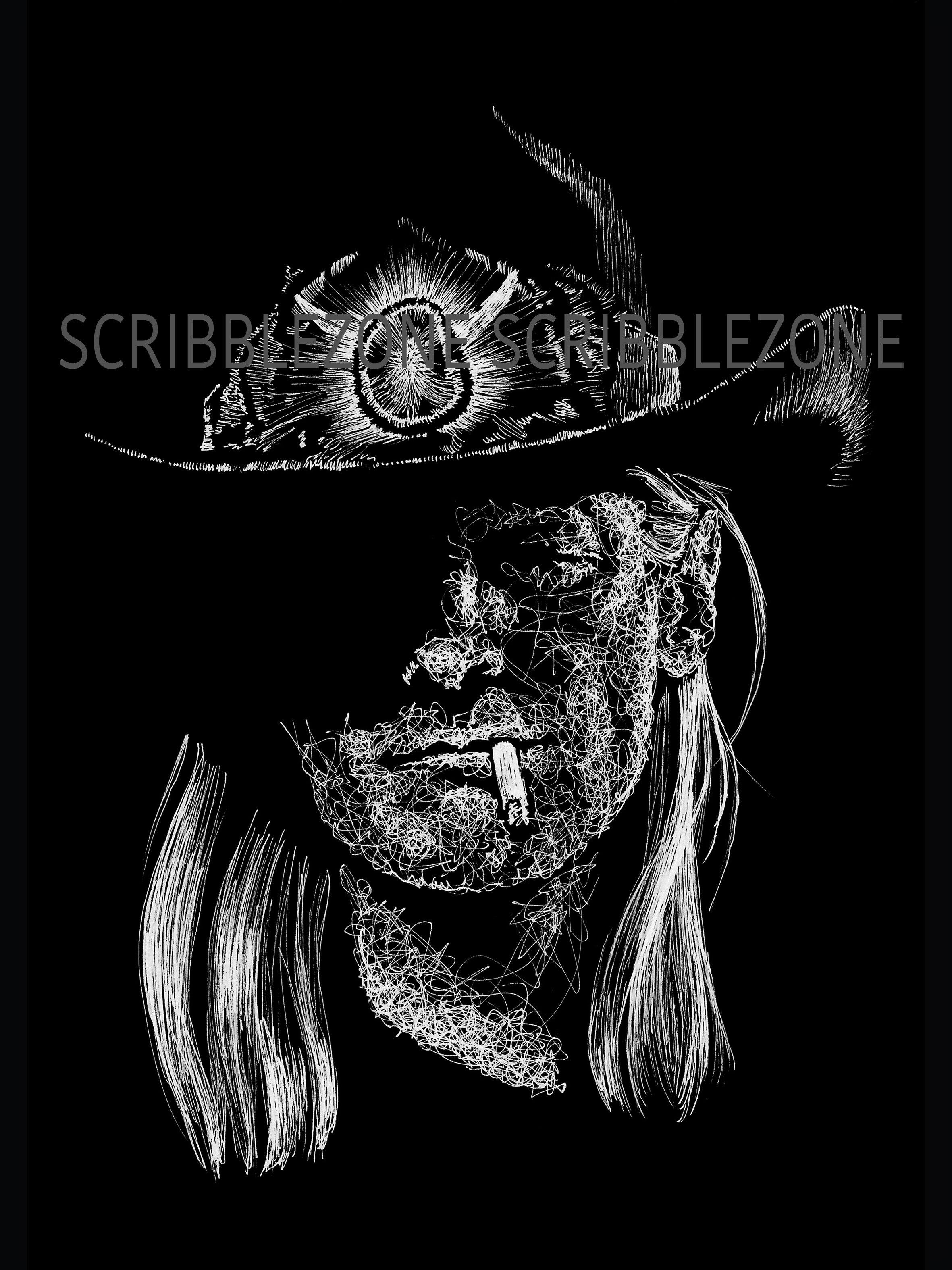 Reverse Scribble of Johnny Winter